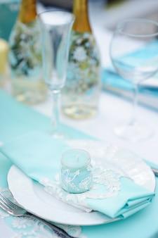 Tafelset voor een feest of bruiloftsreceptie