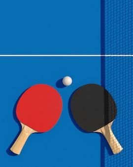 Tafeltennis twee of pingpongrackets en bal op een lijst met netto 3d illustratie. poster disgn.