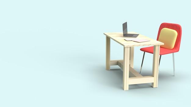Tafelwerkplek 3d-rendering voor werk vanuit huisinhoud.