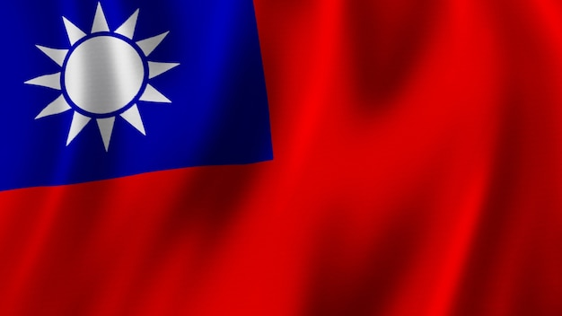 Taiwan vlag zwaaien close-up 3d-rendering met afbeelding van hoge kwaliteit met stof textuur