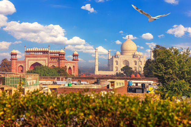 Taj mahal complex, uitzicht vanaf het dak van agra, india.