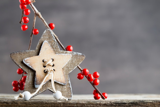 Tak met rode bessen, kerstdecor.
