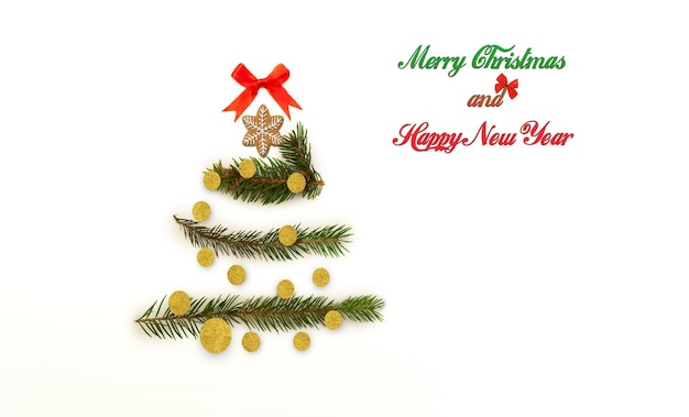 Takken met naalden in de vorm van een kerstboom versierd met snoep en peperkoek.