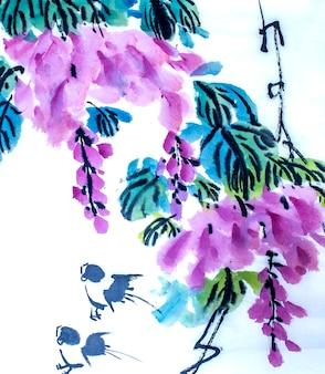 Takseizoen plantaardige borstel tekening bloemen