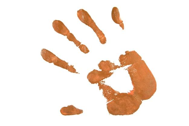 Tan handafdruk op wit