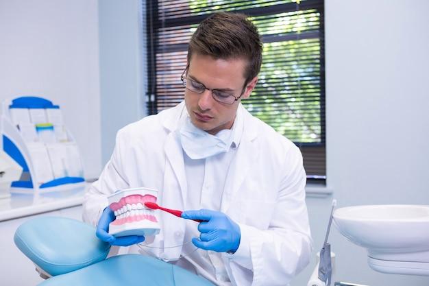 Tandarts die tandheelkundige mal poetsen