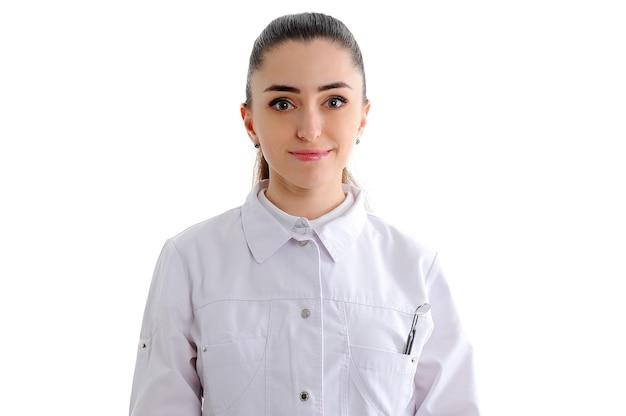 Tandarts vrouw geïsoleerd op wit