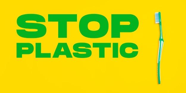 Tanden borstel. milieuvriendelijk leven - polymeren, plastic dingen die kunnen worden vervangen door organische analogen. huisstijl, kies voor natuurlijke producten om te recyclen en niet schadelijk voor het milieu en de gezondheid.
