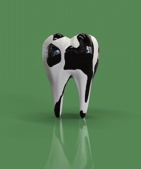 Tanden met stippen zoals een koe. concept van sterke tanden vanwege het drinken van koemelk. 3d render.