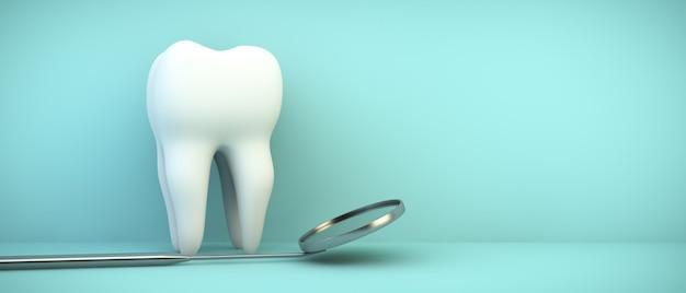 Tandheelkundige spiegel en tand