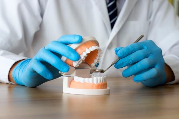 Tandprothese, kunstgebitten. tandarts handen tijdens het werken aan het gebit, valse tanden