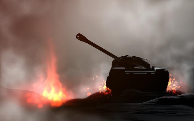Tank in de strijd. 3d render en digitale schilderkunst