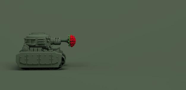 Tank schieten boeket bloemen op oorlog groene achtergrond. vredesconcept. 3d illustratie. banier.