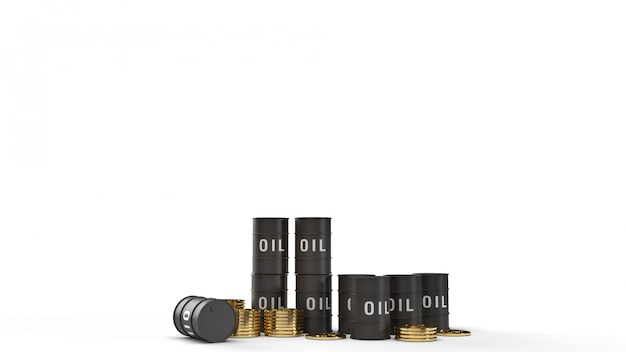 Tankolie en gouden munten 3d-rendering voor benzine-inhoud.