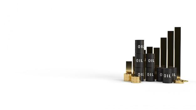 Tankolie en grafiek 3d-rendering voor benzine-inhoud.