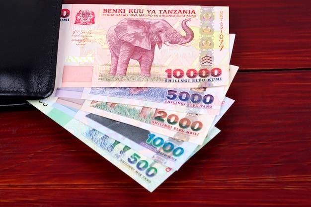 Tanzaniaanse shilling in de zwarte portemonnee