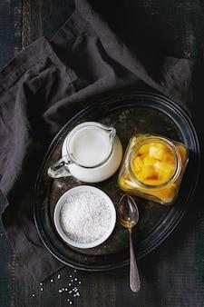 Tapioca-dessert met mango
