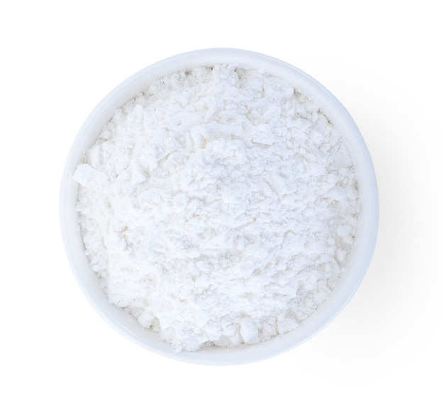 Tapiocameel op wit wordt geïsoleerd dat