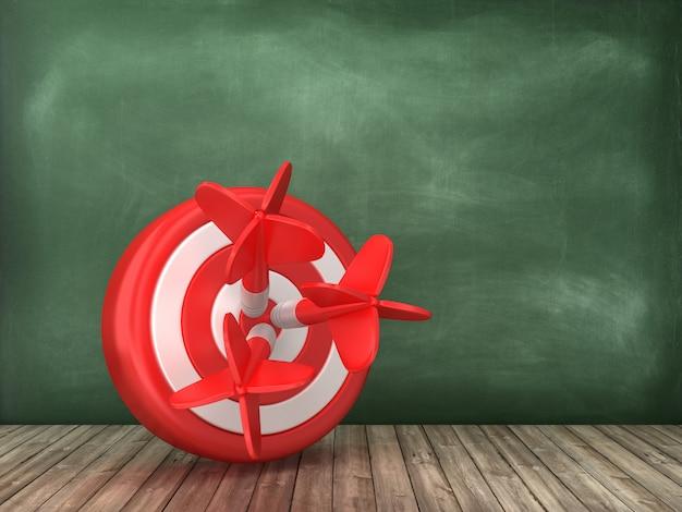 Target en darten op schoolbord achtergrond