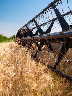 Tarwe oogsten in de zomer. rode harvester werken in het veld. de gouden rijpe oogstmachine van de tarweoogst landbouwmachine op het gebied.