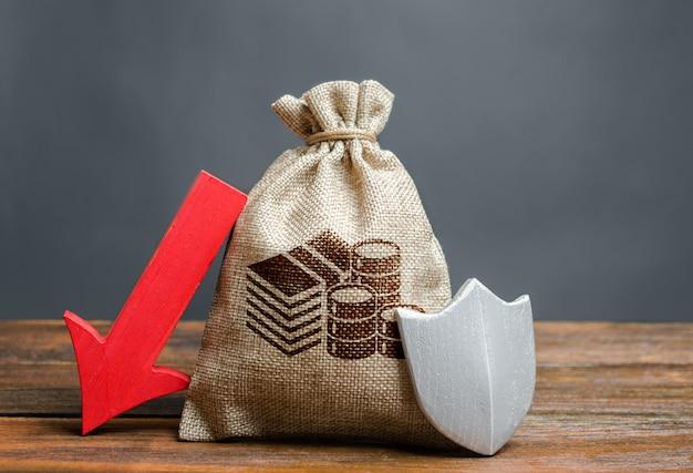 Tas met geldsymbool, schild en rode pijl naar beneden. dalende liquiditeitsdeposito's
