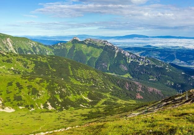 Tatra-gebergte, polen, uitzicht op de giewont-berg vanaf het kasprowy wierch-gebergte