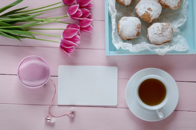 Tea.flat lay.spring to-do lijst.