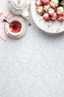 Tea party samenstelling met kopie ruimte