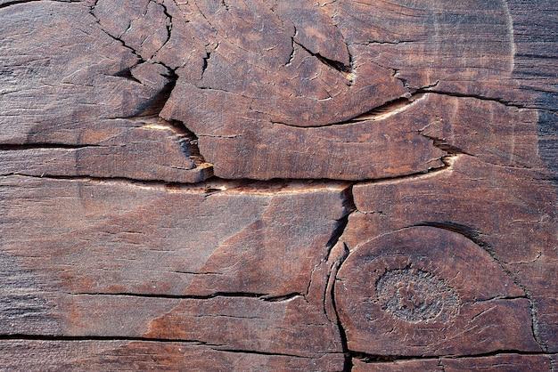 Teak houtstructuur met scheuren en knopen
