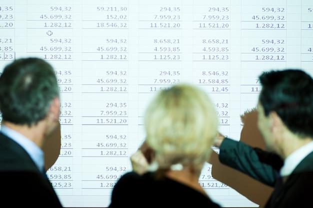 Team dat een spreadsheet bespreekt