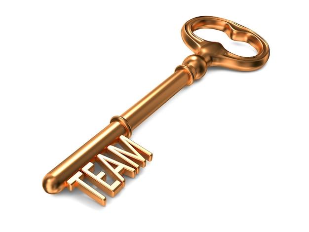 Team - gouden sleutel. 3d-weergave. bedrijfsconcept.