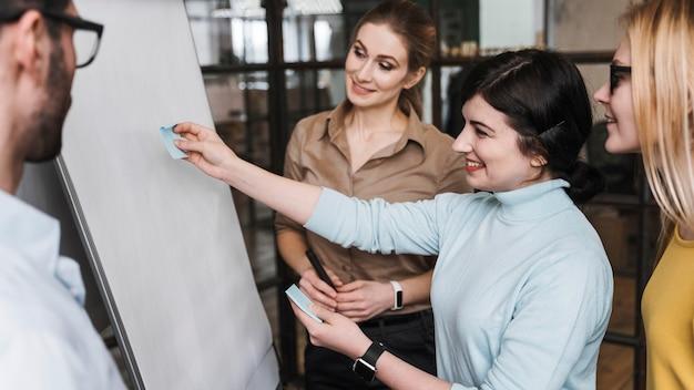 Team van jonge professionele ondernemers tijdens een vergaderpresentatie