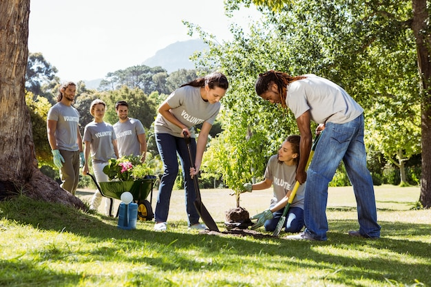 Team van vrijwilligers die samen tuinieren