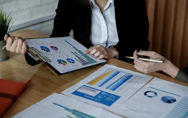 Team van vrouwelijke accountants werkt aan datadocumenten op kantoor.