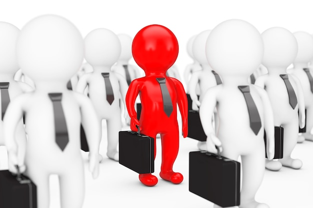 Teamleider concept. veel 3d persoon met een rood op een witte achtergrond. 3d-rendering.