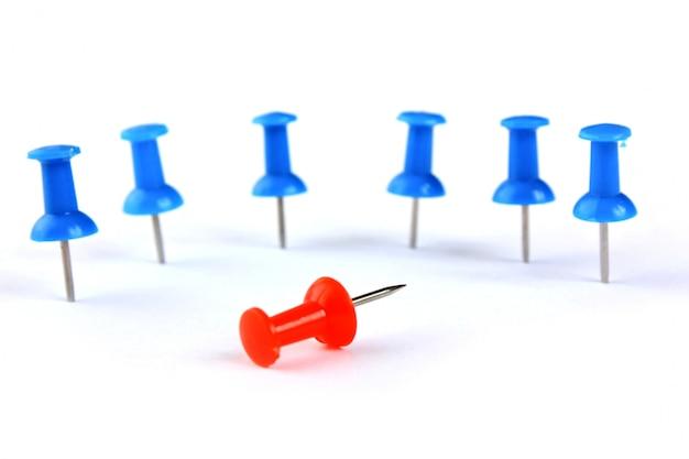 Teamleider en de groep als een briefpapier knoppen
