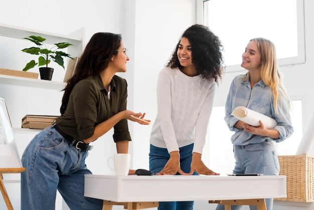Teamvergadering lage hoek vrouwtjes