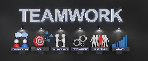 Teamwerkwoord bovenop reeks pictogrammen