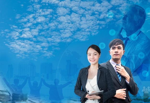 Teamwork en succesvol bedrijfsconcept. technologie en innovatie voor fintech.