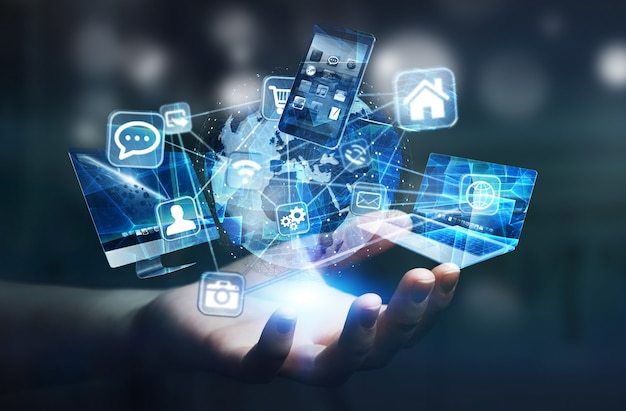 Tech-apparaten en pictogrammen die zijn aangesloten op digitale aarde