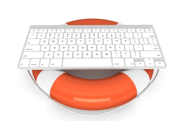 Technisch ondersteuningsconcept. computertoetsenbord met reddingsboei op een witte achtergrond