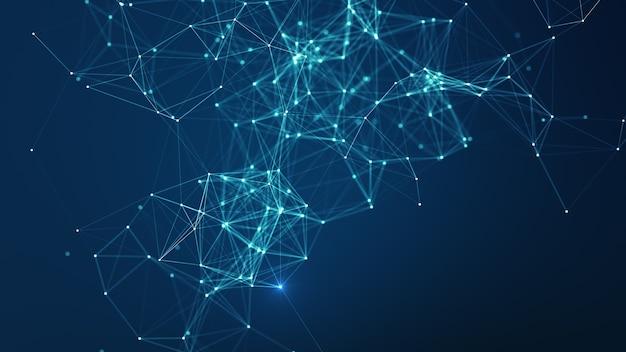 Technische achtergrond. abstracte verbonden punten en lijnen op blauwe achtergrond. communicatie- en technologienetwerkconcept met bewegende lijnen en punten. netwerk verbindingsstructuur.