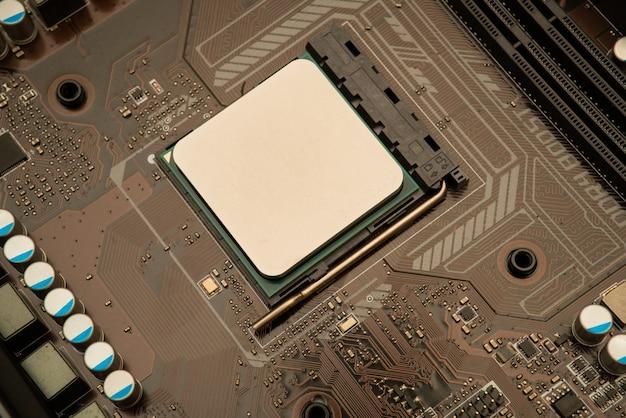 Technische achtergrond met computer server halfgeleider-processoren cpu-concept blauwe printplaat textuur