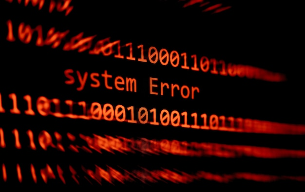 Technische binair codenummer gegevenswaarschuwing systeem foutmelding op het scherm