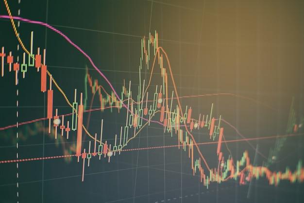 Technische prijsgrafiek en indicator, rode en groene kandelaargrafiek op blauw themascherm, marktvolatiliteit, op en neer trend. aandelenhandel, crypto valuta achtergrond.