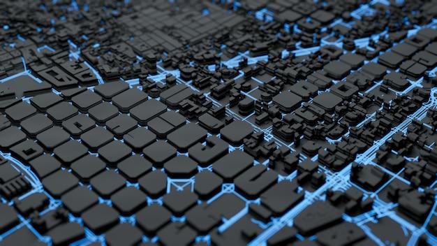 Techno megastad, het 3d teruggeven