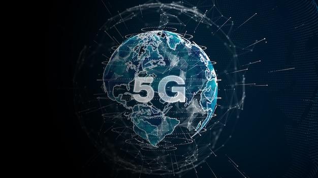 Technologie 5g snelle internetverbinding. globaal netwerk digitale dataverbinding futuristische abstracte achtergrond
