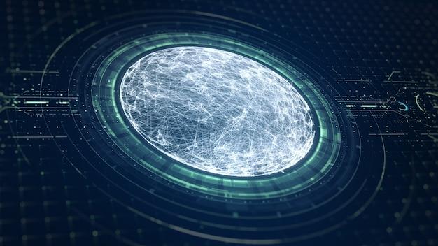 Technologie big data-concept. futuristische sferische interface. beweging van digitale gegevensstroom. overdracht van big data. overdracht en opslag van datasets, blockchain, server, hi-speed internet.
