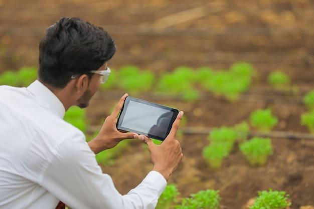 Technologie en mensen concept, jonge indiase agronoom met behulp van tablet of smartphone op kas