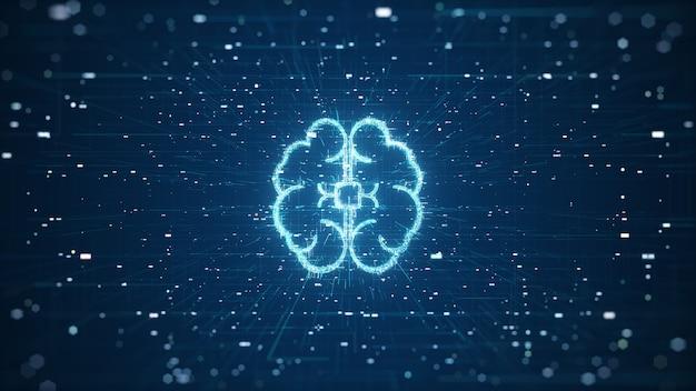 Technologie kunstmatige intelligentie (ai) hersenen animatie digitale gegevens concept. big data flow-analyse. diepgaande leren moderne technologieën. futuristische cybertechnologie-innovatie. snel digitaal netwerk.